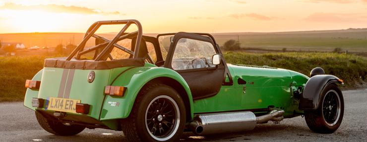 caterham car sunset